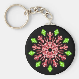 Rote und grüne NeonBlume Schlüsselanhänger