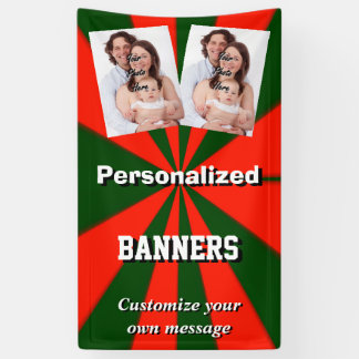 Rote und grüne Sternexplosionmuster-Fotoschablone Banner