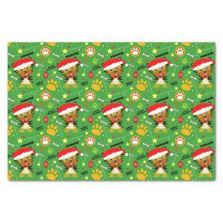 Rote und grüne WeihnachtenYorkie Seidenpapier