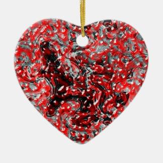 Rote und schwarze abstrakte flüssige keramik Herz-Ornament
