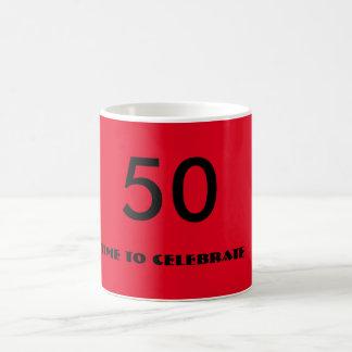 rote und schwarze fünfzigste Geburtstags-Tasse Kaffeetasse