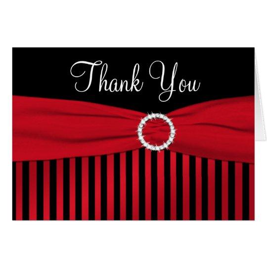 Rote und schwarze gestreifte danken Ihnen Mitteilungskarte