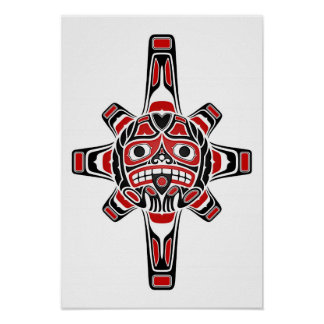 Rote und schwarze Haidasun-Maske auf Weiß Poster