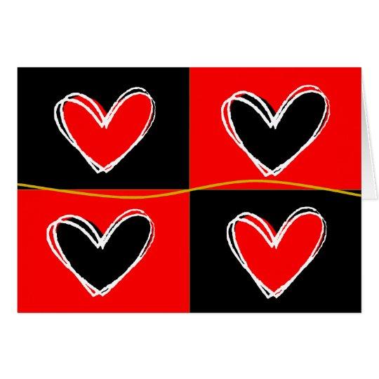 Rote und schwarze Herzen Mitteilungskarte