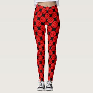 Rote und schwarze Volleyball-Gamaschen-Hosen Leggings