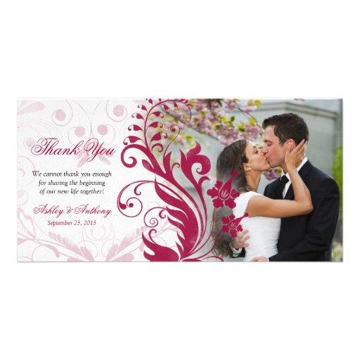 Rote und weiße Blumenhochzeit danken Ihnen Fotokar Photokarten