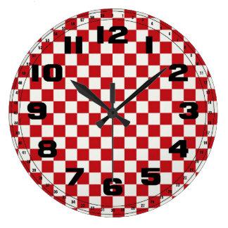 Rote und weiße Checkered Muster-Land GRILLEN Farbe Große Wanduhr