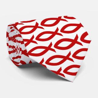 Rote und weiße christliche Fisch-Symbol-Krawatte Bedruckte Krawatten