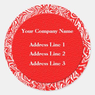 Rote und weiße Geschäftsadresse-Aufkleber Runder Aufkleber