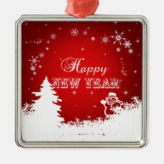 Rote und weiße guten Rutsch ins Neue Silbernes Ornament