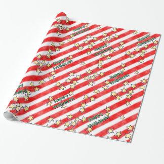 Rote und weiße Streifen mit Sternen Einpackpapier