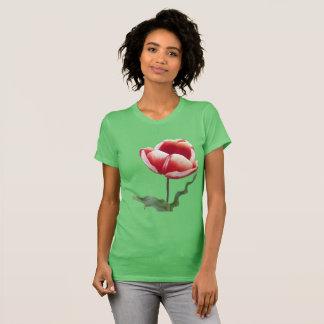 Rote und weiße Tulpe-APP. Der T - Shirt der Frauen