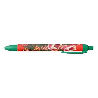 Rote und weiße Tulpe-grüner Stift