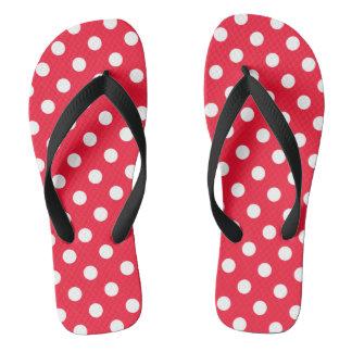 Rote und weiße Tupfen Flip Flops