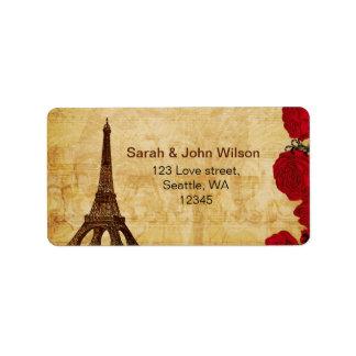 rote Vintage Eiffel-Turm Paris-Adressen-Etiketten Adressaufkleber