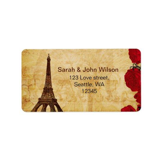 rote Vintage Eiffel-Turm Paris-Adressen-Etiketten Adressetiketten