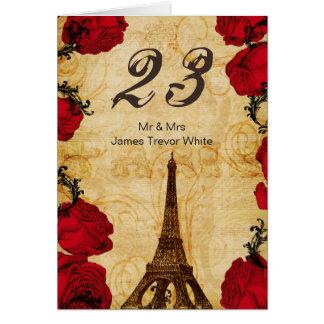 rote Vintage Eiffel-Turm Paris-Tischnummern Karten
