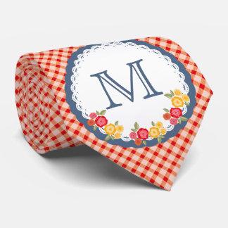 Rote Vintage Gingham-Blumen-Monogrammfrau Personalisierte Krawatten
