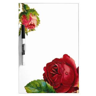 Rote Vintage Rosen-Blumen Trockenlöschtafel