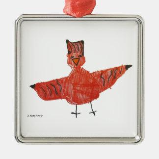 Rote Vogel-Prämien-Verzierung Silbernes Ornament