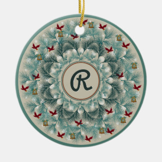 Rote Vögel und Wispy Kiefer personalisiert Keramik Ornament