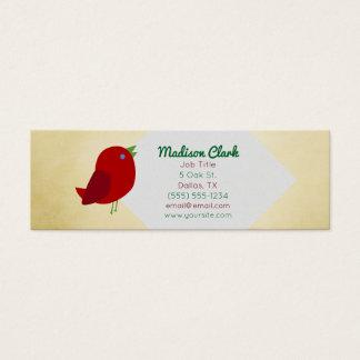 Rote Vogel-Visitenkarten Mini Visitenkarte