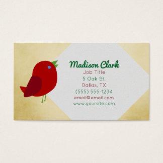 Rote Vogel-Visitenkarten Visitenkarte