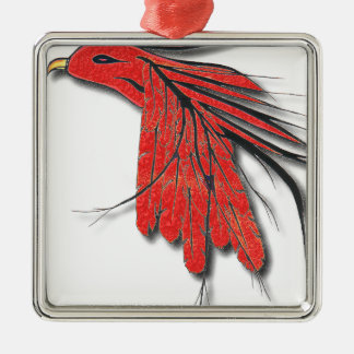 rote Vogelfeder Silbernes Ornament