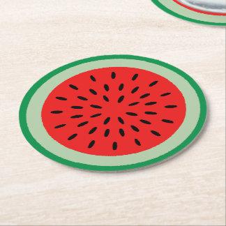 Rote Wassermelone-Scheibe-festliches Party Kartonuntersetzer Rund