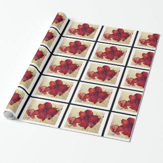 Rote Weihnachtsamaryllis deckte Packpapier mit Geschenkpapier