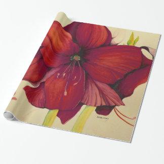 Rote Weihnachtsamaryllis-glattes Packpapier Geschenkpapier