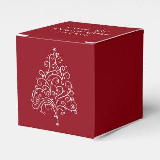 Rote Weihnachtsbaum-Winter-Hochzeit Geschenkschachtel