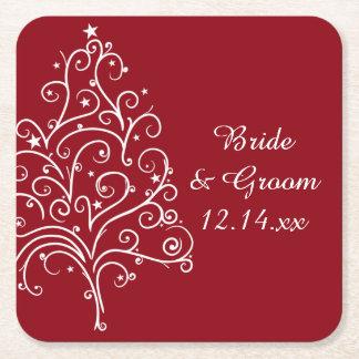 Rote Weihnachtsbaum-Winter-Hochzeit Kartonuntersetzer Quadrat