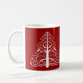Rote Weihnachtsbaum-Winter-Hochzeit Tasse