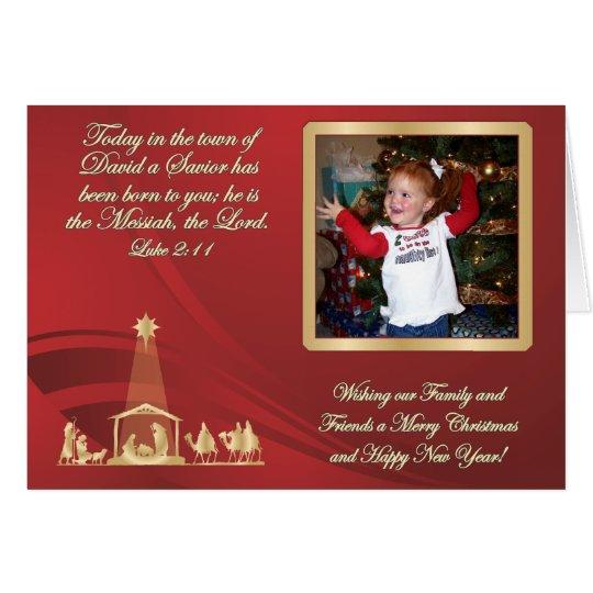 Rote WeihnachtsFoto-Gruß-Karte Mitteilungskarte