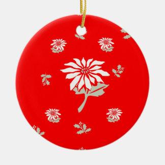 Rote Weihnachtspoinsettia Keramik Ornament