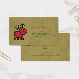 Rote Weihnachtsren-Frohe Festtage Visitenkarte