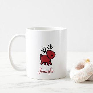 Rote Weihnachtsren-Illustration personalisiert Kaffeetasse