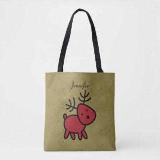 Rote Weihnachtsren-Illustration personalisiert Tasche