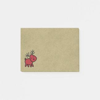 Rote Weihnachtsren-Illustration Post-it Klebezettel