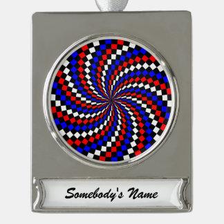 Rote weiße blaue Schachbrett-Spirale Banner-Ornament Silber