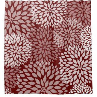 Rote weiße Blüten Burgunders, moderne BlumenBlumen Duschvorhang
