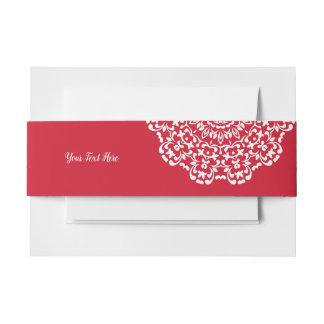 Rote weiße elegante noble Spitze personalisiert Einladungsbanderole