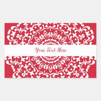 Rote weiße elegante noble Spitze personalisiert Rechteckiger Aufkleber