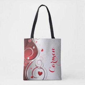Rote weiße Herz-Strudel-Muster-Druck-Typografie Tasche