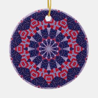 Rote, weiße und blaue AmericanaMandala Rundes Keramik Ornament