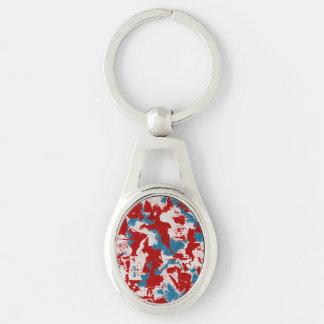 Rote, weiße und blaue Brushstrokes Silberfarbener Oval Schlüsselanhänger