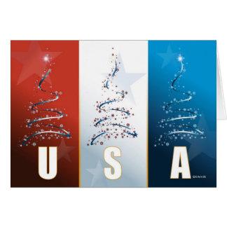 Rote weiße und blaue patriotische Weihnachtskarte Karte