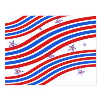 Rote weiße und blaue Streifen und Stern Postkarte
