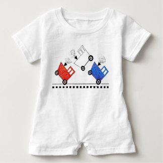Rote weiße und blaue Zug-Kombüse Baby Strampler